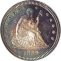 Proof Seated Quarters: , 1889 25C PR66 Cameo PCGS. The lovely original toning on each sideis apricot-gold in the centers, ceding to electric blue a...