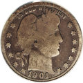 Barber Quarters: , 1901-S 25C Good 4 PCGS. The key issue to the series and always inshort supply, even in this grade. Deeply toned overall, t...