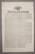 """Western Expansion:Cowboy, PROCLAMATION TO PROVIDE GOVERNMENT TO TERRITORY OF ARIZONA DURING THE CIVIL WAR 1864 An original """"proclamation"""" broadside, b..."""