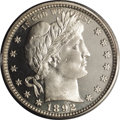 Proof Barber Quarters: , 1892 25C PR66 Cameo PCGS. Type Two Reverse. PCGS and NGC have certified about 520 1892 proof quarters, out of an original m...