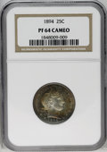 Proof Barber Quarters: , 1894 25C PR64 Cameo NGC. Each side is colorfully overlaid with variegated shades of deep golden-brown, cobalt-blue, crimson...