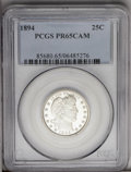 Proof Barber Quarters: , 1894 25C PR65 Cameo PCGS. The snow-white devices provide substantial contrast with the reflective fields. This brilliant pr...