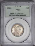 Proof Barber Quarters: , 1898 25C PR65 PCGS. Frosted, boldly struck motifs stand out against mirrored fields, yielding a cameo-like effect. Splotche...