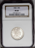 Proof Barber Quarters: , 1902 25C PR64 NGC. A watery near-Gem specimen with subtle golden highlights. While price increases have excluded many colle...
