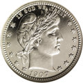 Proof Barber Quarters: , 1907 25C PR67 Cameo NGC. The 1907 has a fairly low mintage for a proof with only 575 pieces struck. However, a significant ...