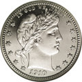 Proof Barber Quarters: , 1910 25C PR68 ★ Cameo NGC. From an original low mintage of 551 pieces, 51 1910 quarters have ...