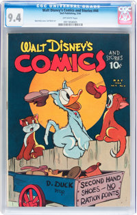 Walt Disney's Comics and Stories #44 (Dell, 1944) CGC NM 9.4 Off-white pages