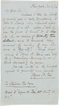 Autographs:Authors, Edgar Allan Poe Autograph Letter Thrice Signed....