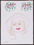 Movie/TV Memorabilia:Original Art, Phyllis Diller. Doodle for Hunger. Marker on paper. 9 x 12Inches. Estimate: $100-$300. Condition: Fine. Paper is mounte...