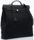 Luxury Accessories:Travel/Trunks, Hermes Black Canvas & Vache Leather Herbag GM Bag withPalladium Hardware. ...