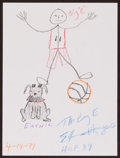 Movie/TV Memorabilia:Original Art, Elvin Hayes. Doodle for Hunger. Crayon on paper. 9 x 12Inches. Estimate: $100-$300. Condition: Fine. ...