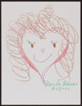 Movie/TV Memorabilia:Original Art, Marsha Mason. Doodle for Hunger. Crayon on paper. 9 x 12Inches. Estimate: $100-$300. Condition: Fine. ...