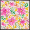 Movie/TV Memorabilia:Original Art, Lilly Pulitzer. Design Studio. Doodle for Hunger. Watercoloron paper. 7.5 x 7.5 Inches. Estimate: $100-$300. Condition:...