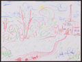 Movie/TV Memorabilia:Original Art, Sally Jesse Raphael. Doodle for Hunger. Crayon on paper. 9 x12 Inches. Estimate: $100-$300. Condition: Fine. ...