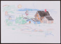 Movie/TV Memorabilia:Original Art, Line Tutwiler. Doodle for Hunger. Crayon on paper. 9 x 12Inches. Estimate: $100-$300. Condition: Fine. ...
