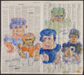 Movie/TV Memorabilia:Original Art, Hank Virgona. Doodle for Hunger. Water color and marker onnewspaper. 24 x 22 Inches. Estimate: $100-$300. Condition: Fi...