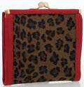 Luxury Accessories:Accessories, Fendi Red Leather & Leopard Canvas Wallet. ...