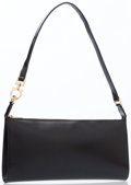 Luxury Accessories:Bags, Salvatore Ferragamo Black Leather Shoulder Bag with Gold Hardware....