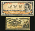 Canadian Currency: , 25¢ 1900 and $2 1954 Devil's Face.. ... (Total: 2 notes)