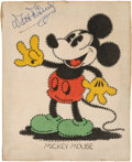 Movie/TV Memorabilia:Autographs and Signed Items, A Walt Disney Signed Needlepoint of Mickey Mouse, Circa 1940s....