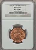 India:British India, India: British India. East India Company 1/4 Anna 1858-(W) MS63 Red NGC,...