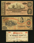 Confederate Notes:1864 Issues, T67 Confederate and Two Georgia Obsoletes.. ... (Total: 3 notes)