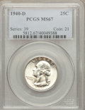 Washington Quarters, 1940-D 25C MS67 PCGS....