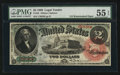 Large Size:Legal Tender Notes, Fr. 42 $2 1869 Legal Tender PMG About Uncirculated 55 EPQ.. ...