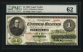 Large Size:Legal Tender Notes, Fr. 17a $1 1862 Legal Tender PMG Uncirculated 62.. ...