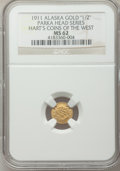 Alaska Tokens, 1911 Parka Head, Alaska Gold 1/2, MS62 NGC. Gould-Bressett 176. Hart's Coins of the West....