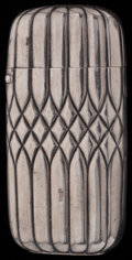 Silver Smalls:Match Safes, A TIFFANY & CO. WHITE ALLOY MATCH SAFE, New York, New York,circa 1900. Marks: TIFFANY & CO.. 2-1/2 inches high (6.4cm)...
