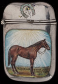Silver Smalls:Match Safes, AN AMERICAN SILVER AND ENAMEL MATCH SAFE, circa 1891. Marks:STERLING, E. 2-3/8 inches high (6.0 cm). 1.27 troy ounces....