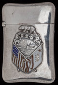 Silver Smalls:Match Safes, AN AMERICAN SILVER AND ENAMEL MATCH SAFE, circa 1900. Marks:STERLING. 2-3/8 inches high (6.0 cm). 1.10 troy ounces. F...