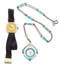 Timepieces:Other , C. Bucherer Sterling & Enamel Pendant & Swiss Pink GoldFilled Wristwatch. ... (Total: 2 Items)