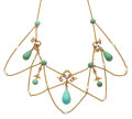 Art Glass:Daum, Turquoise, Seed Pearl, Gold Necklace. ...