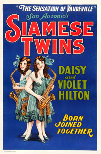 "Hilton Sisters - Siamese Twins (Quigley Litho Company,1920s). One Sheet (28"" X 42.5"")"