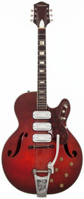 Musical Instruments:Electric Guitars, 1963 Silvertone 1454 Redburst Semi-Hollow Body Electric Guitar, #W5151RO....