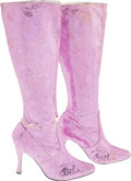 """Movie/TV Memorabilia:Costumes, A Pamela Anderson Pair of Signed Boots from """"V.I.P.""""..."""