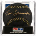 Autographs:Baseballs, Tom Lasorda Single Signed Black Baseball, PSA Mint+ 9.5. ...