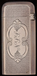Silver Smalls:Match Safes, A GORHAM SILVER-PLATED MATCH SAFE, Providence, Rhode Island, circa1900. Marks: (lion-anchor-G), 10. 2-1/8 inches high (...