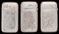 Silver Smalls:Match Safes, THREE GORHAM SILVER-PLATED MATCH SAFES, Providence, Rhode Island,circa 1883. Marks to all: (anchor), GORHAM CO., 020, ...(Total: 3 Items)