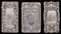 Silver Smalls:Match Safes, THREE GORHAM SILVER MATCH SAFES, Providence, Rhode Island, circa1910. Marks to all: (lion-anchor-G), STERLING, PAT. 1910,...(Total: 3 Items)