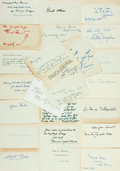 "Autographs:Authors, [Autographs] Lot of 24 Author Autographs. All examples on 3"" x 5""note cards, some signatures only, others autograph quotes,..."