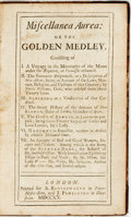 Books:Literature Pre-1900, Miscellanea Aurea: or The Golden Medley. London: A.Bettesworth and J. Pemberton, 1720. Assumed first edition.Twelvemo....