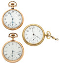 Timepieces:Pocket (post 1900), Three Watches, Waltham, Elgin, South Bend. ... (Total: 3 Items)