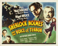 "Movie Posters:Crime, Sherlock Holmes and the Voice of Terror (Universal, 1942). HalfSheet (22"" X 28"").. ..."