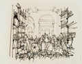 Books:Original Art, [Original Art]. Arno Sternglass. Original Drawing for The Writer as the Conscience of France. Published in November ...