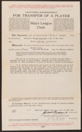 Autographs:Others, 1921 New York Yankees Player Transfer Contract Signed by JacobRuppert....