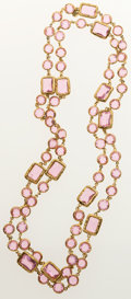 Luxury Accessories:Accessories, Chanel Pink Crystal & Gold Sautoir Necklace. ...