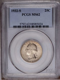 Washington Quarters: , 1932-S 25C MS62 PCGS. This key date example displays golden-graycolor, and is generally well impressed. Several small, tho...